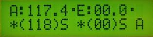 Вид дисплея контроллера в автоматическом режиме управления с принятыми данными от компьютера