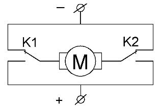 Принципиальная схема реверсивного управления электродвигателем постоянного тока